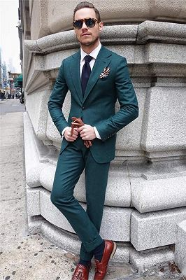 Hunter Green Slim Fit Prom Tuxedos | Custom Made Two Pieces Groom Formal Suits for Men_2