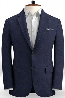 Dark Blue Linen Beach Groom Suits | Slim Fit Wedding Tuxedo_1