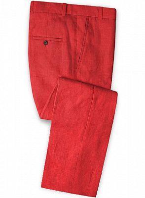 Red Wedding Groom Men Suits | 2 Pieces Jackt Pants Vest Tuxedo with Notched Lapel_3