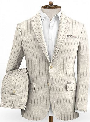 Light Champagne Two Pieces Striped Tuxedo | Linen Summer Beach Groom Suits_2