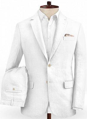 Summer White 2 Piece Linen Men Suit | Cutsom Slim Fit Groom Prom Wedding Suit Set_2
