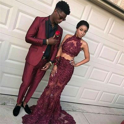 Handsome Burgundy Slim Fit Prom Party Suits for Men_2
