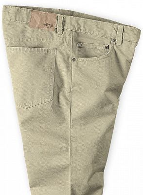 Khaki Men Trousers Casual Thin Elastic Waist Business Office Pants_3