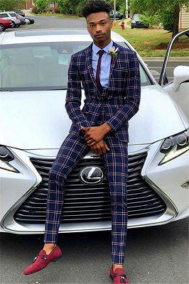 Dark Navy Wool Business Men Suit   Bespoke Plaid Prom Suits for Men_1