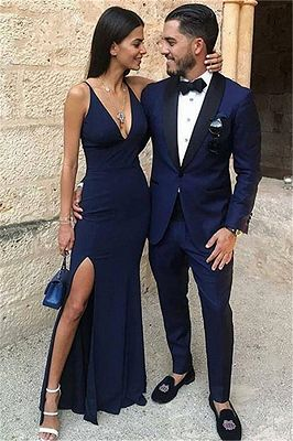 Dark Blue One Button Two-Piece Prom Men Suits with Black Lapel_1