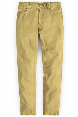 Gold Mens Solid Color Slim Fit Male Social Business Casual Skinny_1