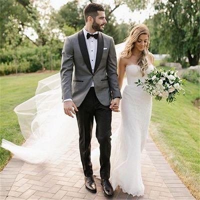 Fashion Gray Shawl Lapel Wedding Suit   One Button Men's Suit_2