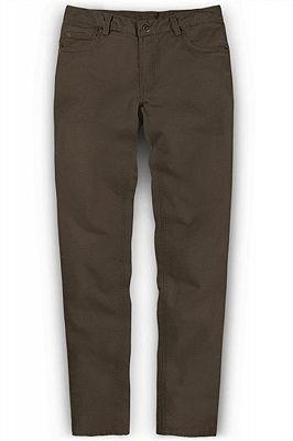 Fashion Brown Slim Zipper Fly Mid Waist Male Casual Pants_1