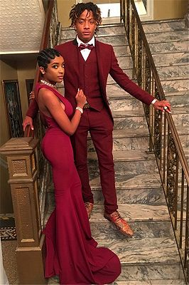 Handsome Red Suit for Prom | Three Pieces Slim Fit Men Suit Online_1
