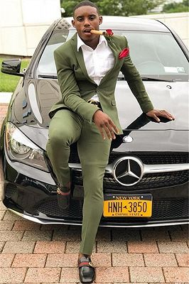 Lime Green One Button Best Slim Men Prom Outfits_1