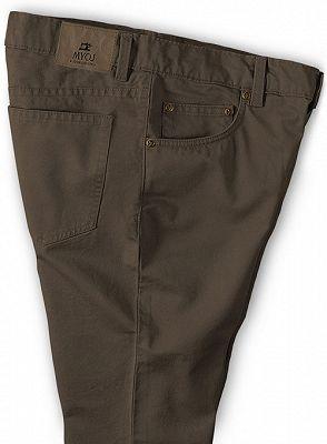 Fashion Brown Slim Zipper Fly Mid Waist Male Casual Pants_3