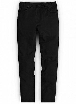 Black Mid Waist Zipper Fly Trousers for Men_1
