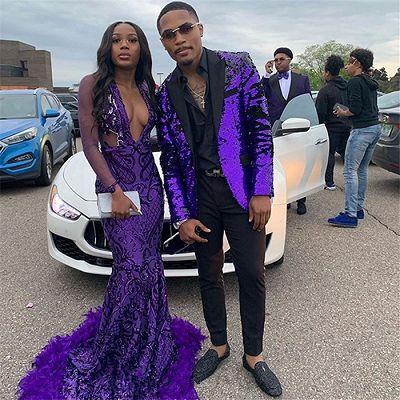 Stylish Purple Sequined Men's Suit | Two Piece Slim Fit Prom Men Suits_2