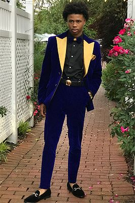 Royal Blue Slim Fit Velvet Men Suits | Custom Made 2 Pieces Prom Party Outfits_1