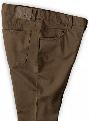 Brown Boyfriend Solid Color Zipper Fly Mens Pants_3