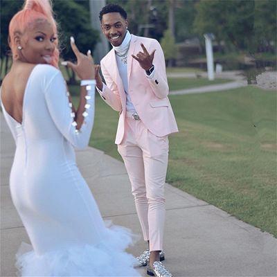Handsome Pink Slim Fit Prom Men Suit for Boy_5