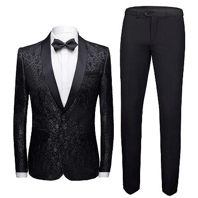 Black Jacquard Shawl Lapel Men Suits | Unique Slim Fit Two-Pieces Wedding Groom Tuexdos_3