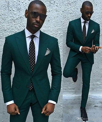 Dark Green Slim Fit Formal Mens Business Suit | New Arrival Peaked Laple Prom Suits_2