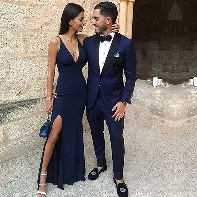 Dark Blue One Button Two-Piece Prom Men Suits with Black Lapel_2
