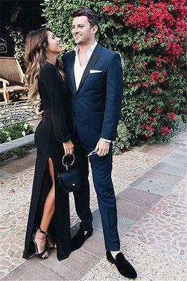 Navy Blue Prom Outfits   Notch Lapel Slim Fit Men Suit_1