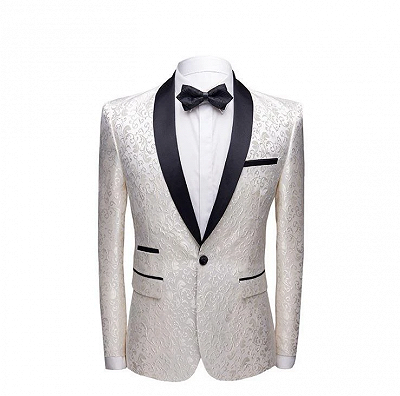 White Jacquard One Button Wedding Tuexdos | Black Shawl Lapel Men Suits (Jacket Pants)_2