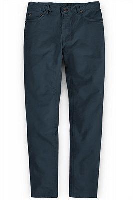 Latest Design Dark Blue Zipper Fly Casual Pants Mens Designer Trousers_1