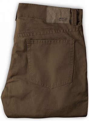 Brown Boyfriend Solid Color Zipper Fly Mens Pants_2
