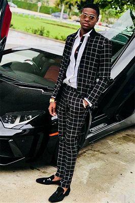 Black Slim Fit Men Suits   Plaid Prom Suit_1