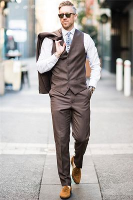 Handsome Brown Bespoke Mens Suits | Two Buttons Formal Business Suits_2