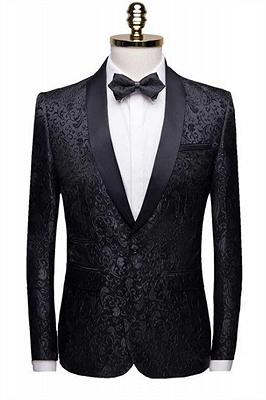 Black Jacquard Shawl Lapel Men Suits | Unique Slim Fit Two-Pieces Wedding Groom Tuexdos_1