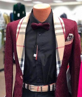 Burgundy Mens Blazers | New Arrival Popular Prom Suit_1