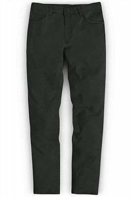 Dark Gray Slim Fit Casual Solid Business Work Mens Pants_1