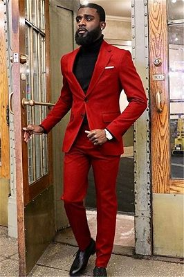 New Arrival Red Two Piece Slim Fit Prom Men Suit_1