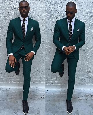 Dark Green Slim Fit Formal Mens Business Suit | New Arrival Peaked Laple Prom Suits_3
