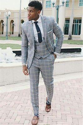 Fashion Grid Men Suits | Three-Piece Notch Lapel Slim Fit Prom Suit_1