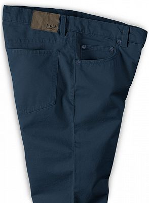 Navy Blue Male Business Pants with Zipper Fly_3
