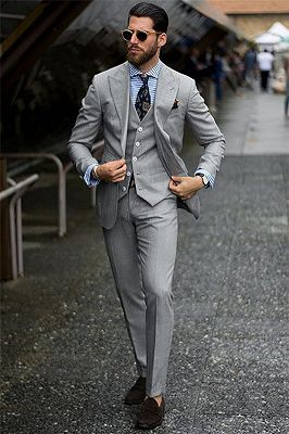 Bespoke Formal Mens Suits | Regular Grey Three-Piece Business Suits_1