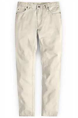 Cream High Quality Men Suit Pants with Zipper Fly_1