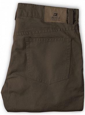 Fashion Brown Slim Zipper Fly Mid Waist Male Casual Pants_2
