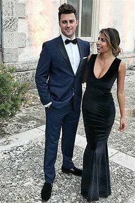 Navy Blue Prom Outfits   Notch Lapel Slim Fit Men Suit_2