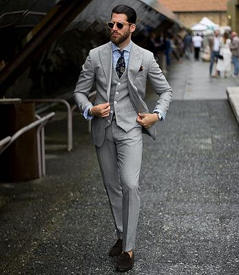 Bespoke Formal Mens Suits | Regular Grey Three-Piece Business Suits_2