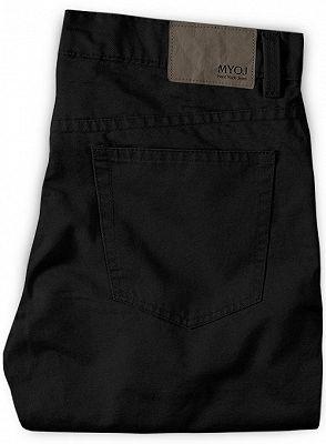 Black Mid Waist Zipper Fly Trousers for Men_2