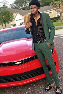 Bespoke Dark Green Men Suits | Two Pieces Black Silk Shawl Prom Outfit_1