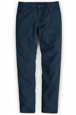 Navy Blue Male Business Pants with Zipper Fly_1