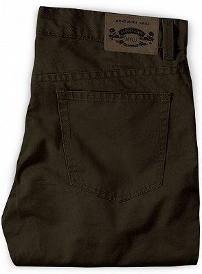 New Fashion Dark Brown Slim Straight Men Casual Pants_2