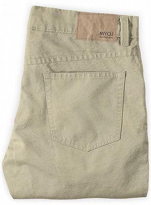 Khaki Men Trousers Casual Thin Elastic Waist Business Office Pants_2