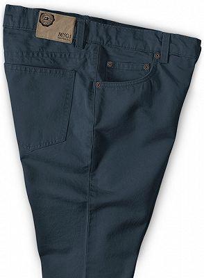Latest Design Dark Blue Zipper Fly Casual Pants Mens Designer Trousers_3