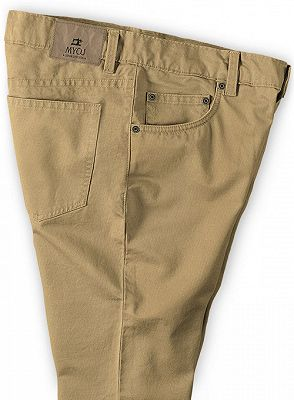 Solid Color Fashion Men Pants Casual Cotton Long Pants_3