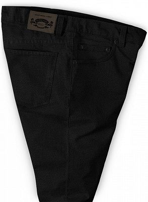 Thick Men Business Black Slacks with Zipper Fly_3