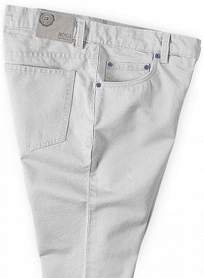 Ivory Fashion Slim Fit Casual Cotton Long Slim Fit Pants_3